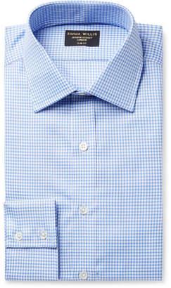 Blue Slim-Fit Gingham Cotton Oxford Shirt