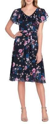 Tahari Arthur S. Levine Floral Tiered Ruffle Self-Tie Fit-&-Flare Dress