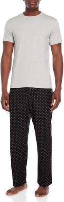 Calvin Klein Two-Piece Tee & Logo Print Fleece Pant Lounge Set