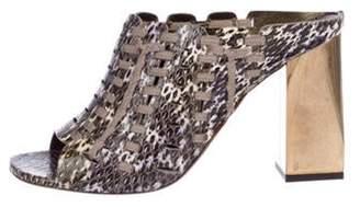 Lanvin Snakeskin Square-Toe Sandals Brown Snakeskin Square-Toe Sandals