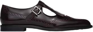 Tod's Monk Strap With Fringe In Dark Burgundy Leather