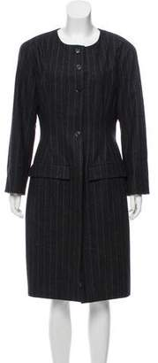 Chanel Wool Pinstripe Coat