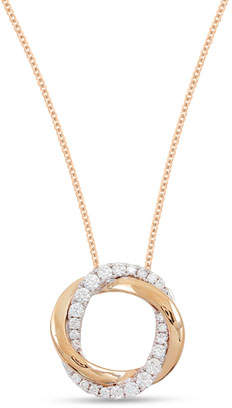 Frederic Sage 18k Pink & White Mini Halo Diamond Pendant Necklace