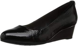 Clarks Women's Vendra Bloom Wedge Pump Black Patent Leather 7 B(M) US