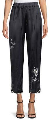 Giada Forte Wide-Leg Satin Pants with Floral-Embroidery