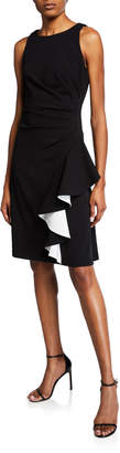 Iconic American Designer Ruched Ruffle Dress