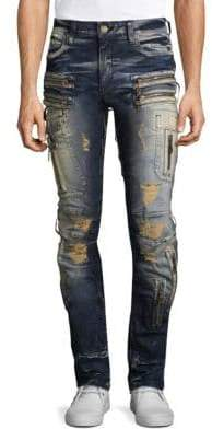 Moto Mecano Slim Fit Distressed Jeans