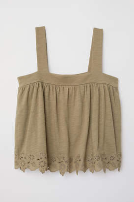H&M Top with Eyelet Embroidery - Green
