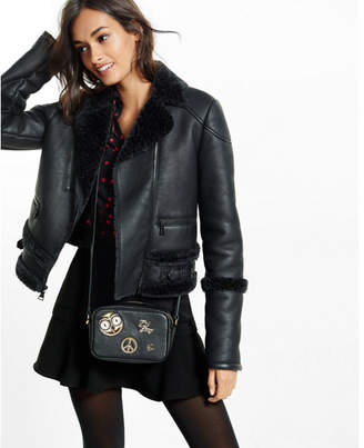 Express black faux shearling moto jacket $178 thestylecure.com