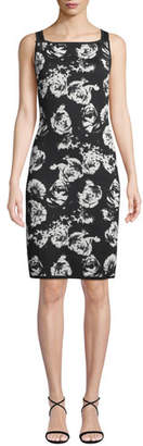 St. John Blister Sleeveless Floral-Jacquard Body-Con Knit Dress