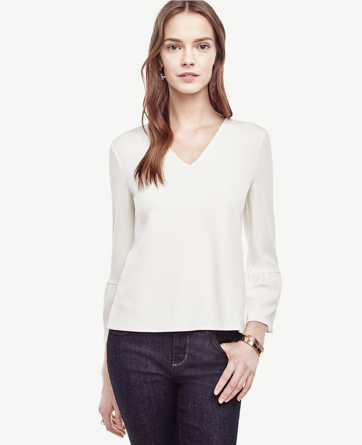 Ann Taylor Petite Flare Sleeve Top