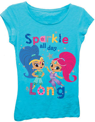 Asstd National Brand Shimmer and Shine Girls' Sparkle All Day Long Short Sleeve Graphic T-Shirt with Silver Glitter