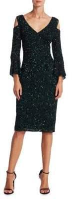 Theia Beaded Bell-Sleeve Dress
