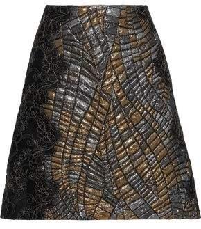 Alberta Ferretti Lace-appliqued Metallic Cloque Mini Skirt