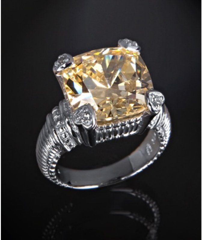 Judith Ripka canary crystal and diamond 'Fontaine' ring