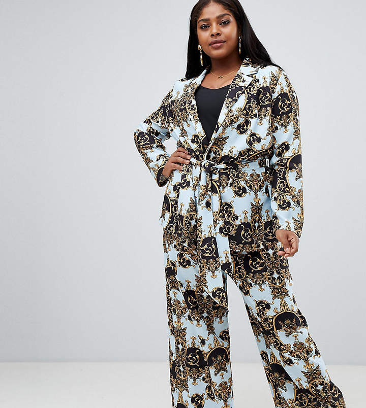 ASOS DESIGN Curve tailored soft wide leg pants in scarf print