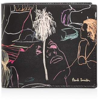Paul Smith Beach Sketch Leather Bi-Fold Wallet