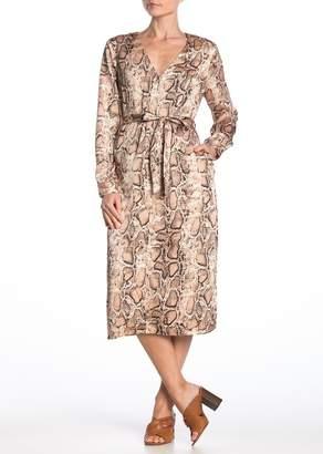 Lush Snake Print Tie Waist Midi Dress