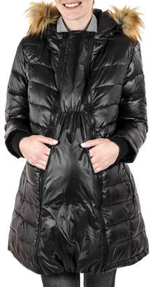 MODERN ETERNITY Abigail Quilted Faux Fur-Trimmed Three-In-One Maternity Parka