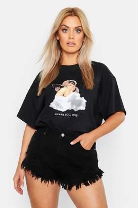 boohoo Plus Cherub Printed T-Shirt