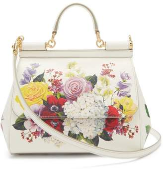 ef77d2b47e Dolce   Gabbana Floral Print Sicily Medium Dauphine Leather Bag - Womens -  White Multi