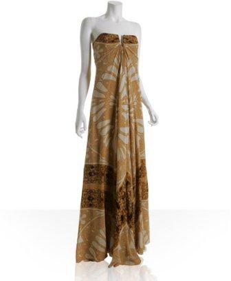 Nicole Miller gold rose window silk strapless maxi dress