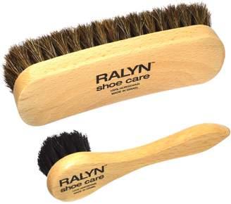 Ralyn Shoe Shine Brush with Shoe Dauber. Dark Bristles. 100% Horsehair. Polished Wood Handles 2-set.
