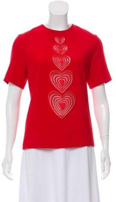 Christopher Kane Heart-Accent Short Sleeve Top