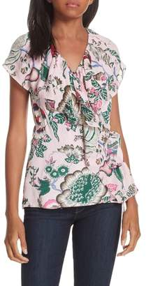 Tory Burch Floral Ruffle Neck Wrap Top