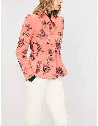 Erdem Floral-embroidered satin skirt