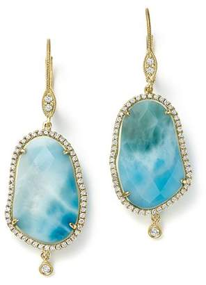 Meira T 14K Yellow Gold Larimar Drop Earrings with Diamonds