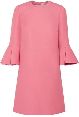Valentino Ruffled Wool And Silk-blend Mini Dress - Pink