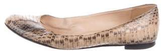 Manolo Blahnik Snakeskin Round-Toe Python Flats