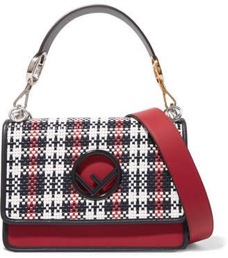 Fendi Kan I Woven Leather Shoulder Bag - Red