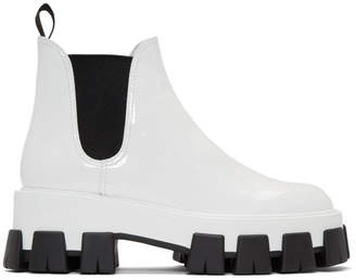 b52a74ec2 Prada White Patent Ankle Boots