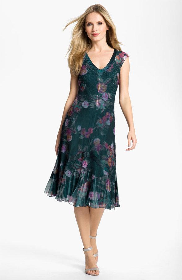 Komarov Floral Print Chiffon Dress