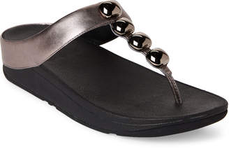 FitFlop Pewter Rola Embellished Thong Sandals