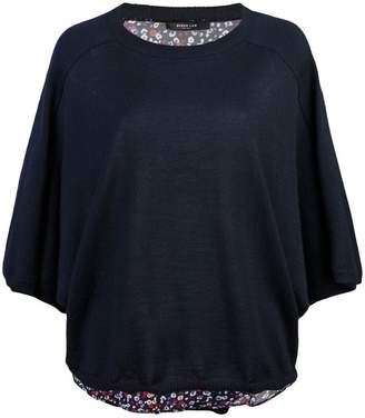 Derek Lam Cropped Batwing Silk Cashmere and Poppy Print Sweater