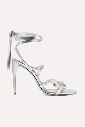 Miu Miu Lace-up Metallic Leather Sandals - Silver