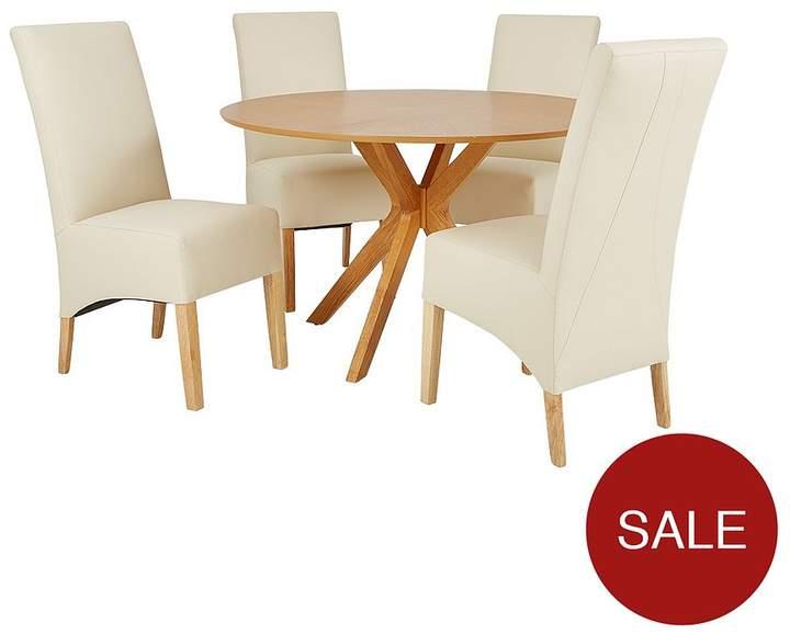 Starburst 119 Cm Oak Veneer Circular Dining Table + 4 Eternity Chairs