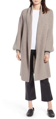 Halogen Blouson Sleeve Long Cashmere Cardigan