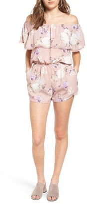 Women's Mimi Chica Ruffle Off The Shoulder Romper $45 thestylecure.com