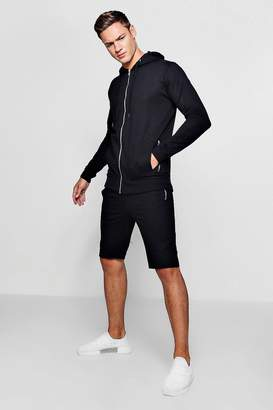 boohoo Zip Through Biker Hoodie and Short Set