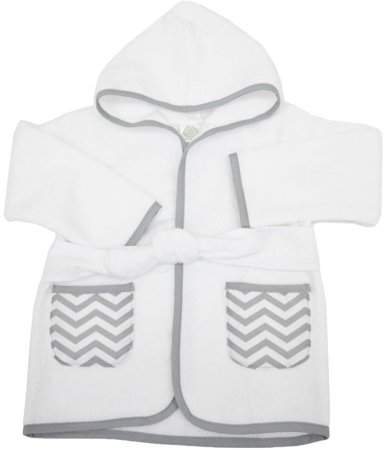 TL Care Inc TL Care 0-9 Months Baby Bathrobe Made with Organic Cotton, Gray Zigzag