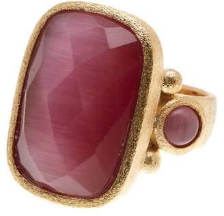 Rivka Friedman Faceted Raspberry Cat's Eye Crystal Satin Rectangle Ring