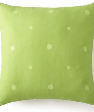 "Poppy Plaid Square Pillow 18""x18"" - Green Polka Dot Bedding"