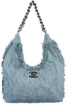 Chanel Fringe Embellished Denim Hobo