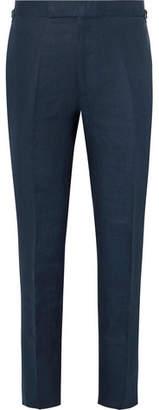 Kingsman Navy Cotton, Linen And Silk-Blend Suit Trousers