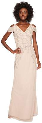 Adrianna Papell V-Neck Long Beaded Mob Gown with Cap Sleeves Women's Dress