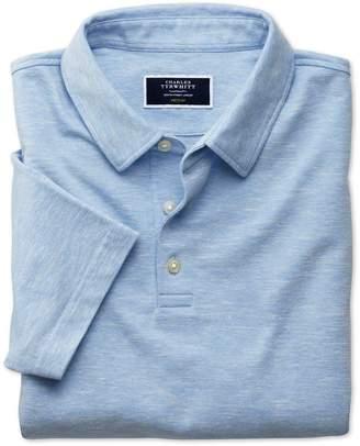 Charles Tyrwhitt Blue Cotton Linen Polo Size Small